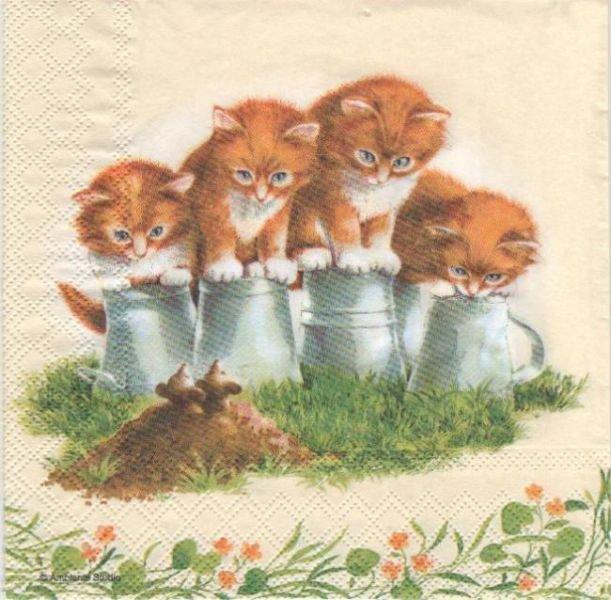 Serviette papier 4 chatons dans l'herbe 33cm X 33 cm 3 plis