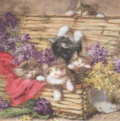 Animaux serviette papier 4 chatons et malle 33cm x 33 cm - Fourniture loisirs creatifs ...