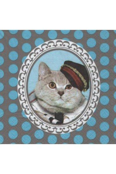 Serviette papier chats avec chapeau 33cm X 33 cm 3 plis
