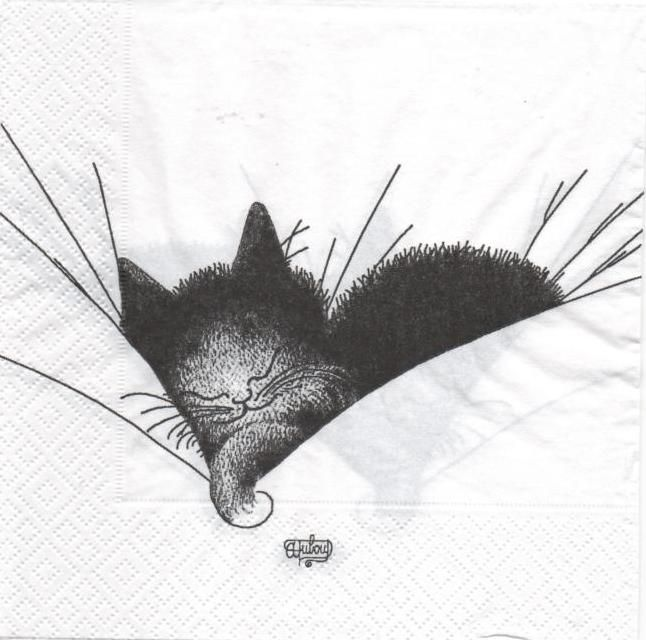 Animaux serviette papier chats dormeur 33 cm x 33 cm 3 plis - Fournitures loisirs creatifs ...