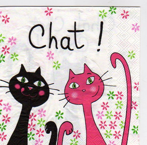Serviette papier 2 chats noirs et rose 33cm X 33 cm 3 plis