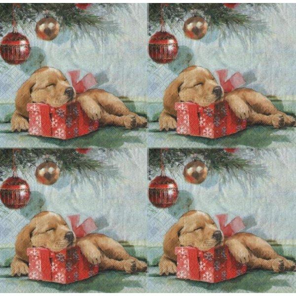 Serviette papier chiot et Noël 33 cm X 33 cm 3 plis