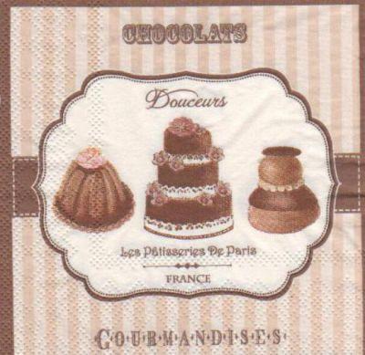 Serviette papier chocolat 25 cm x 25 cm