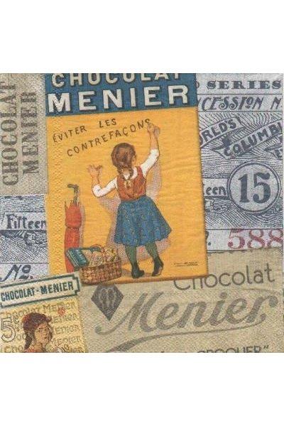 Serviette papier chocolat Meunier  de 33 cm X 33 cm 3 plis