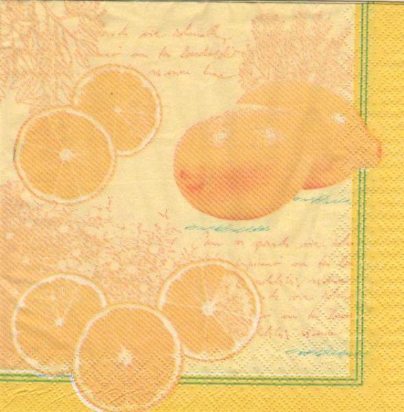 Fruits serviette papier citrons et agrume 33 cmx33 cm 3 plis - Fournitures loisirs creatifs ...