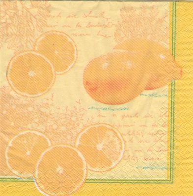 Fruits serviette papier citrons et agrume 33 cmx33 cm 3 plis - Fourniture loisirs creatifs ...