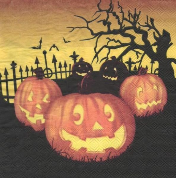 Serviette papier citrouille et halloween 33 cm X 33 cm