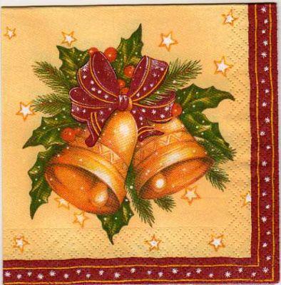Serviette papier cloche de Noël et ruban 25 cm X 25 cm
