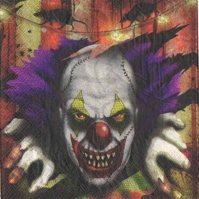 Serviette papier clown Halloween 33 cm X 33 cm 3 plis