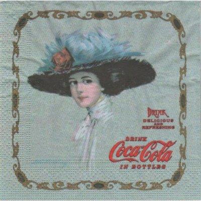 Serviette papier Coca Cola et la dame