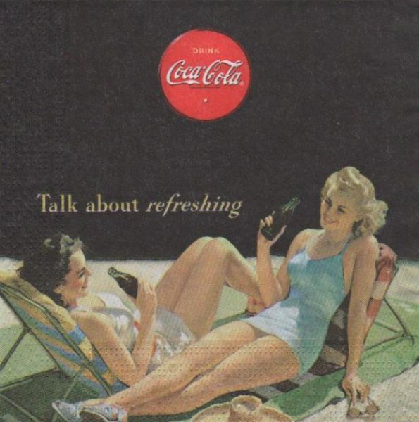 Serviette papier Coca Cola Dame à la plage 33 cm x 33 cm