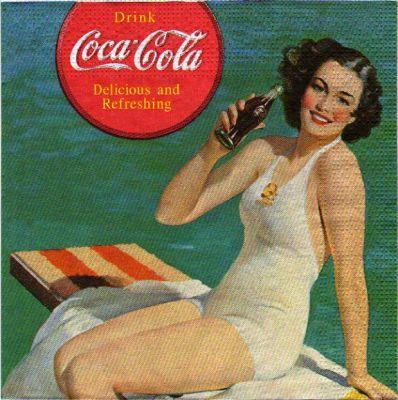Serviette papier Coca Cola à la plage