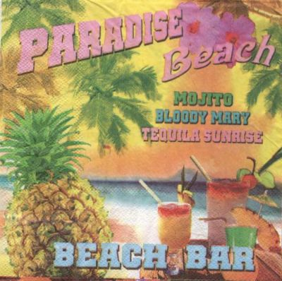 Serviette papier cocktail Beach de 33 cm X 33 cm 3 plis
