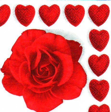 saint valentin serviette papier coeur et rose rouge 25 cm x 25 cm 3 plis. Black Bedroom Furniture Sets. Home Design Ideas