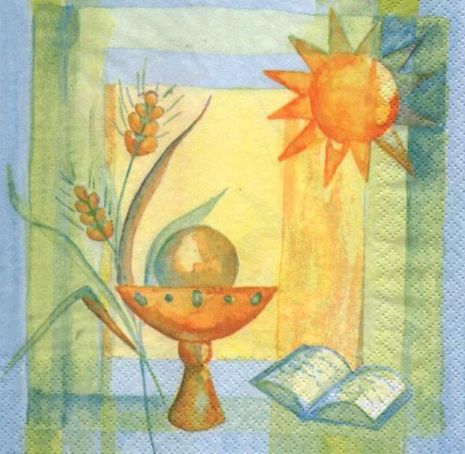 Serviette papier communion calice et soleil 33 cm x 33 cm
