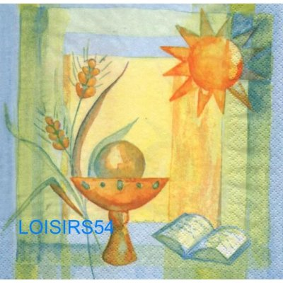 Serviette papier communion calice et soleil 33 cm x 33 cm 3 plis
