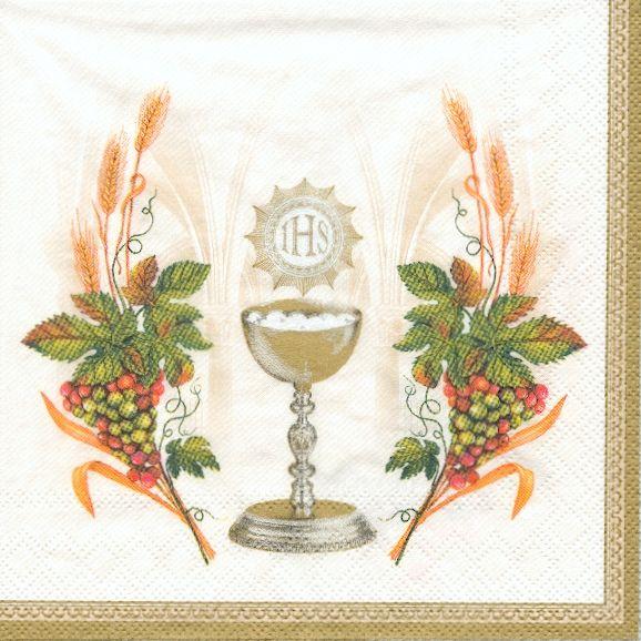 Serviette papier communion-raisin 33 cm x 33 cm 3 plis
