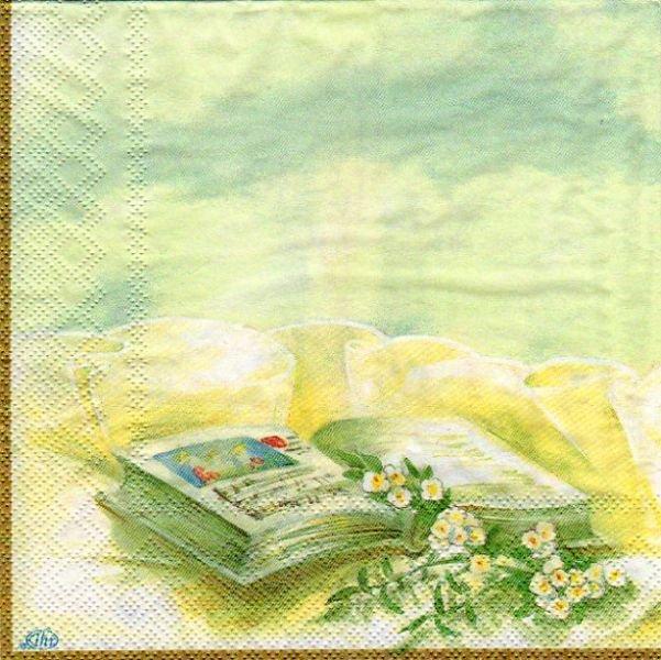 Serviette papier communion + livre et cierge 33 cm x 33 cm