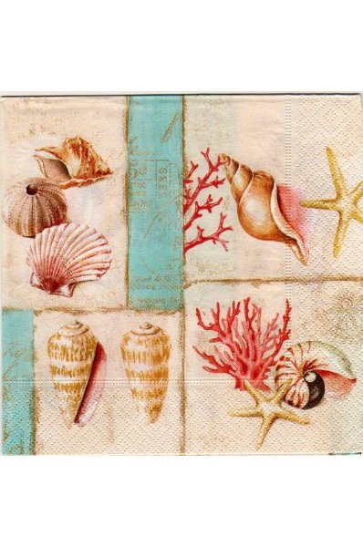 Serviette papier Coquillages et coraux 33 cm X 33 cm 3 plis