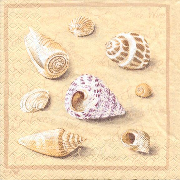 Serviette papier motifs divers serviette papier coquillages et plage de 33 cm x 33 cm - Serviette en papier motif ...