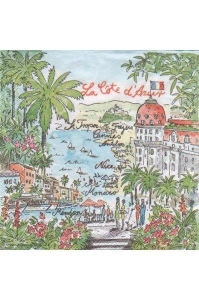 Serviette papier la Côte d'Azur 33 cm X 33 cm 3 plis