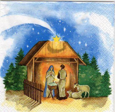 Serviette papier Crèche de Noël 33 cm X 33 cm 3 plis