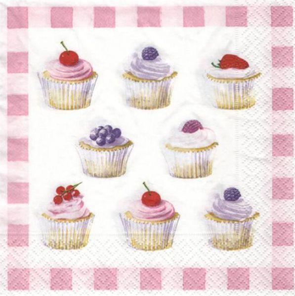 Serviette papier cupcakes aux fruits 33 cm X 33 cm 3 plis