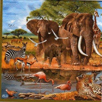 Serviette papier éléphants et flamants rose 33 cm X 33 cm