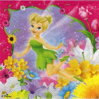 Serviette papier Fée Clochette rose 33 cm X 33 cm 3 plis