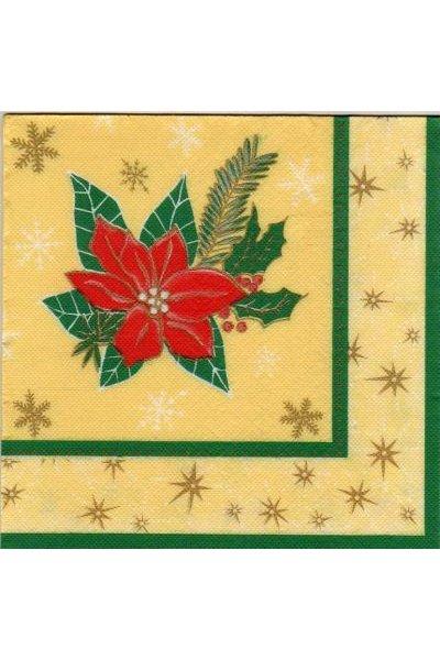 Serviette papier fleurs rouge de 40 cm X 40 cm 3 plis