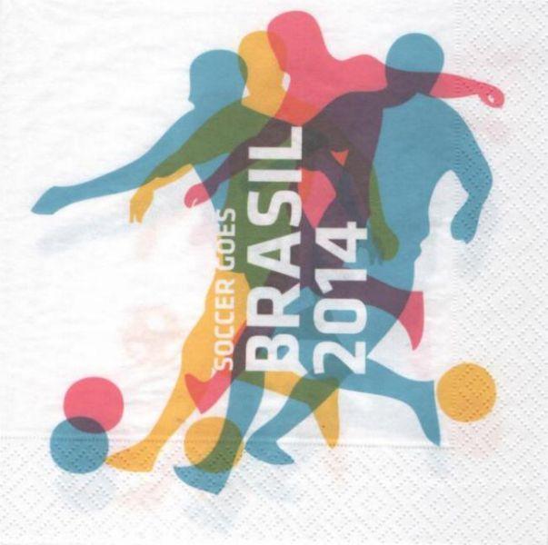 Serviette papier foot Brésil 2014  33 cm X 33 cm 3 plis