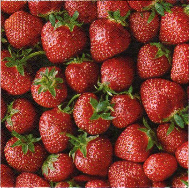 Serviette papier fraises 33 cm X 33 cm 3 plis