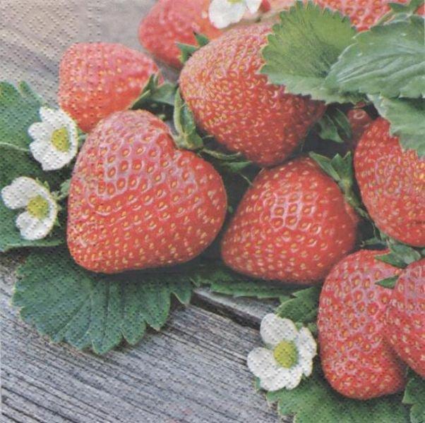 Serviette papier fraises et fleurs 33 cm X 33 cm 3 plis