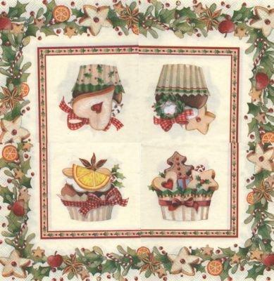 Serviette papier fruits et Noël de 25 cm X 25 cm