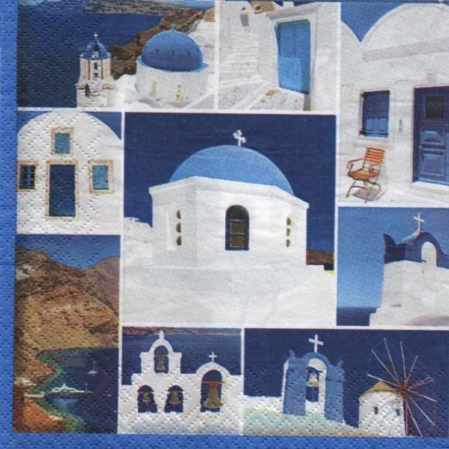 Serviette papier Grèce Mykonos 33 cm X 33 cm 3 plis