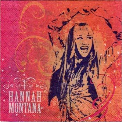 Serviette papier Hannah Montana de 33 cm X 33 cm 2 plis