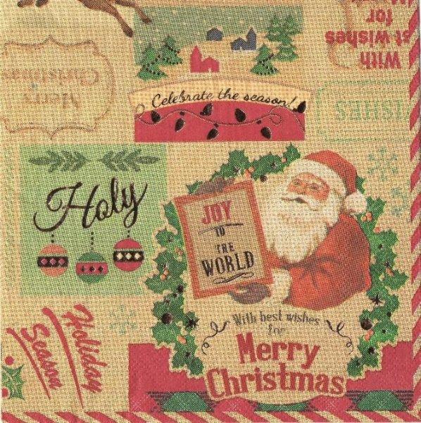 Serviette papier Happy Noël  33 cm X 33 cm 3 plis