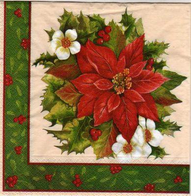 No l serviette papier houx et fleurs rouge 33 cm x 33 cm 3 - Fourniture loisirs creatifs ...