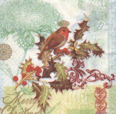 Serviette papier houx et Noël 25 cm X 25 cm 3 plis