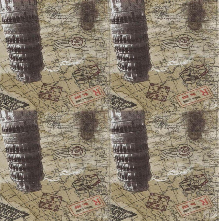 Serviette papier Italie et Pise 33 cm X 33 cm 2 plis
