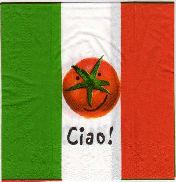 Serviette papier Italie et tomate  33 cm X 33 cm 3 plis