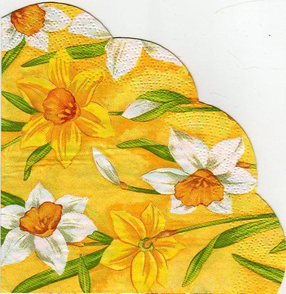 Fleurs serviette papier jonquille fleur 32 cm x 32 cm 3 plis - Fourniture loisirs creatifs ...