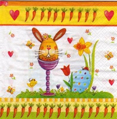 Serviette papier lapin Pâques et papillons 33 cm X 33 cm