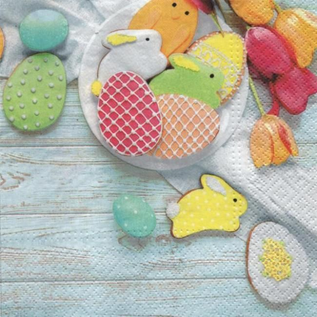 Serviette papier lapin de Paques et oeufs couleurs