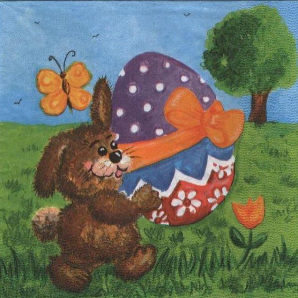 Serviette papier lapins brun et oeufss de Pâques