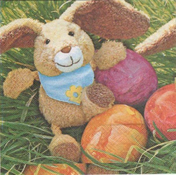 Serviette papier lapins de Paques et peluche