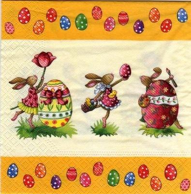 Serviette papier 3 lapins de Paques 33 cm x 33 cm