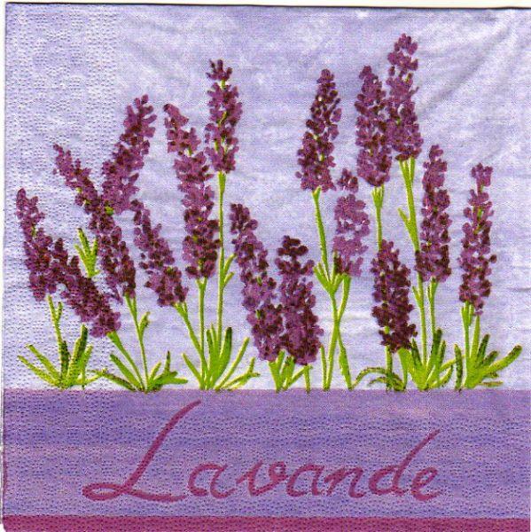Serviette papier lavande fleurs violette 33 cm X 33 cm