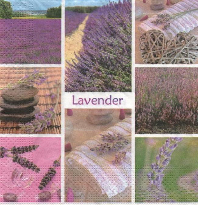 Serviette papier lavande et fleurs 33 cm X 33 cm 3 plis