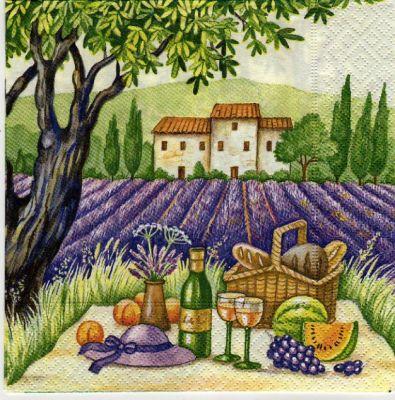Paysages serviette papier lavande et paysage 33 cm x 33 - Serviette en papier motif ...